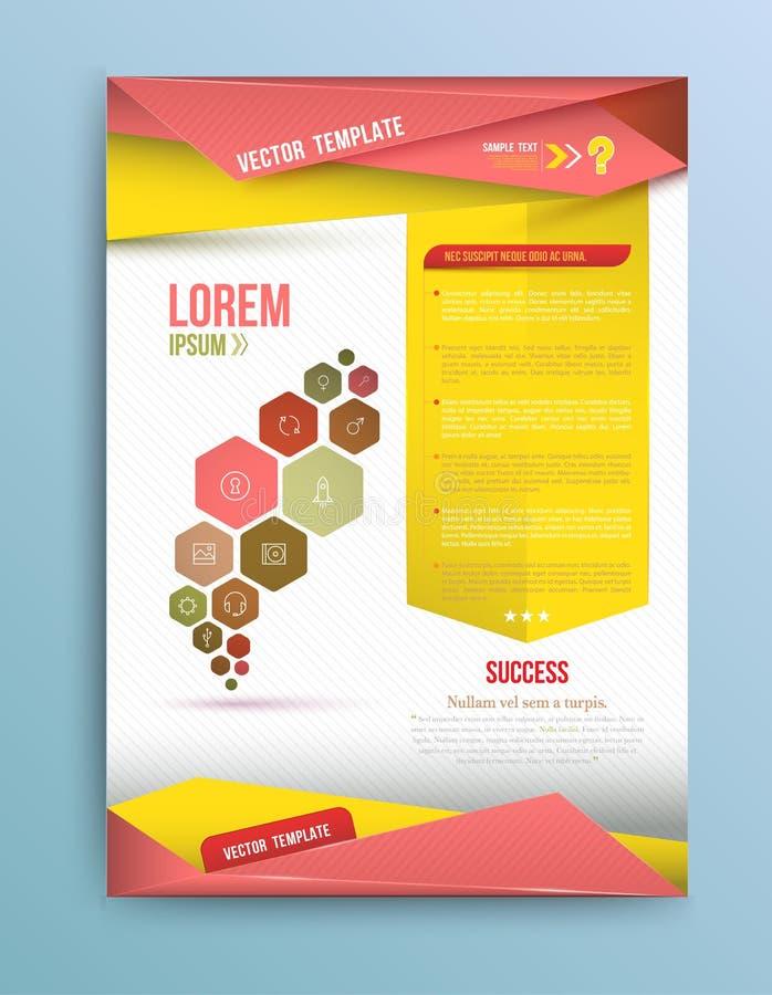 Cubra el informe anual, diseño colorido del papel de la papiroflexia del pájaro stock de ilustración
