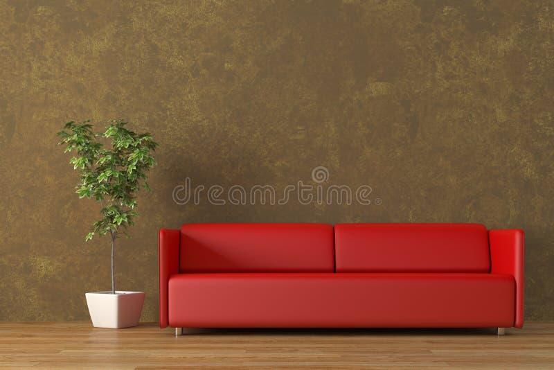 Cubra el sofá con cuero ilustración del vector