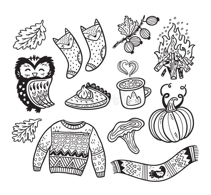 Cubra elementos da coleção do outono no estilo cômico dos desenhos animados ilustração do vetor