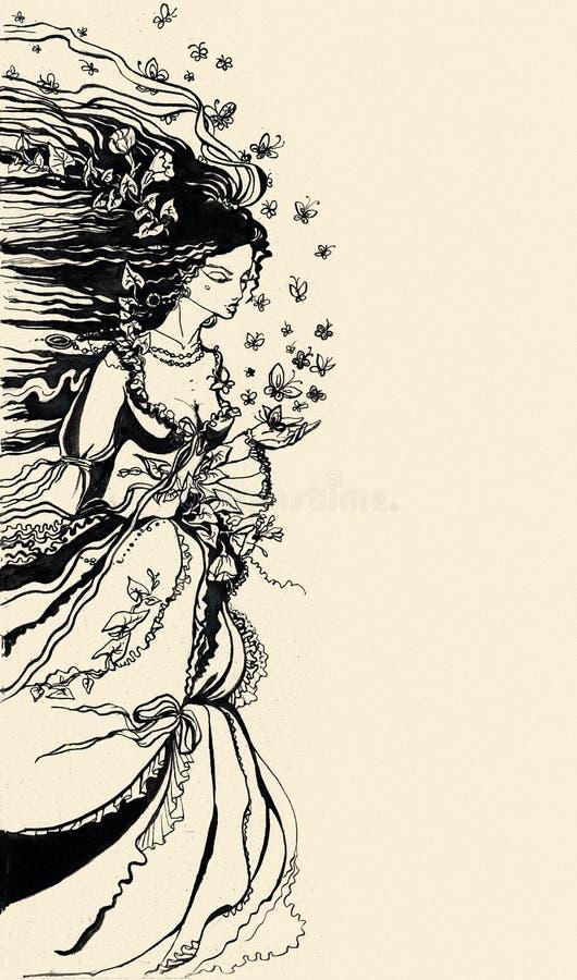 Cubra a ilustração de uma alegoria fêmea do verão ilustração royalty free