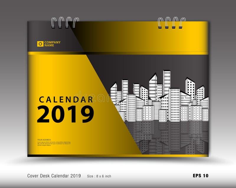 Cubra o calendário de mesa para o vetor do molde de 2019 anos, disposição da capa do livro, informe anual, anúncios do compartime ilustração do vetor