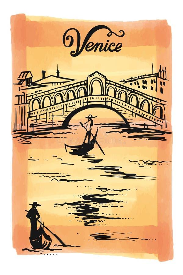 Cubra o desenho da ponte de Rialto, ilustração Veneza do esboço do vetor de Venezia, Itália ilustração stock