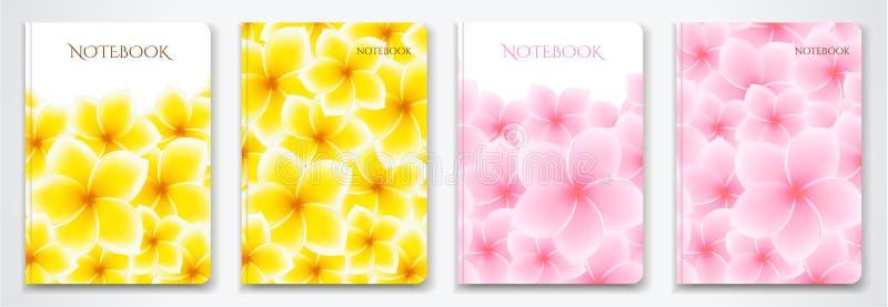 Cubra o designI do planejador do caderno com as flores isoladas do Frangipani/plumeria ilustração royalty free