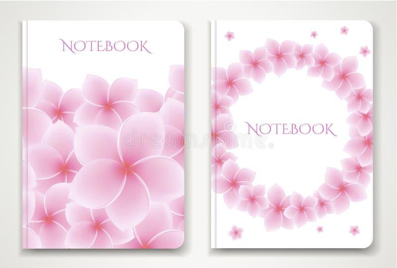 Cubra o designI do planejador do caderno com as flores isoladas do Frangipani/plumeria ilustração stock