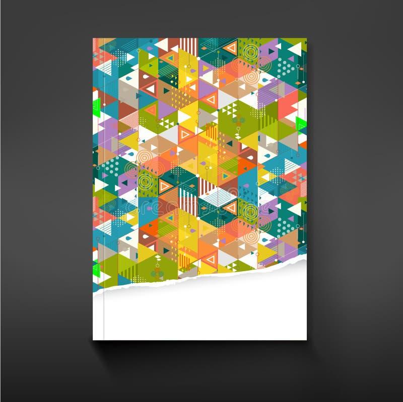 Cubra o fundo colorido da geometria do triângulo para o projeto, o vetor & a ilustração do molde da empresa ilustração royalty free