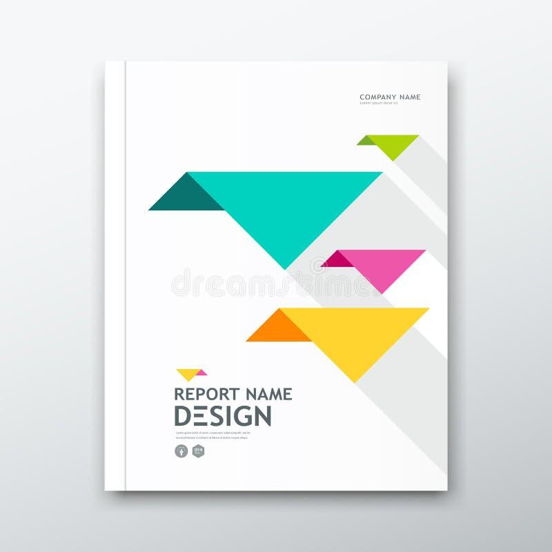 Cubra o informe anual do livro, papel colorido do origâmi do pássaro no projeto branco ilustração stock