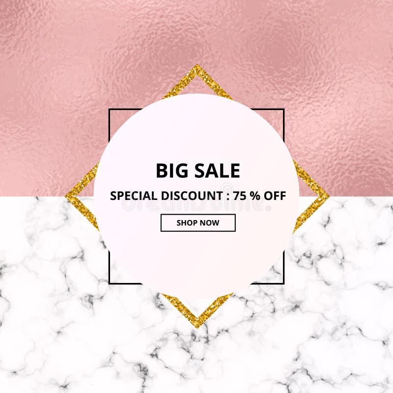 Cubra o mármore branco da venda do cartaz ou a textura de pedra do textura e a cor-de-rosa da folha Cartaz geométrico na moda Mol ilustração stock
