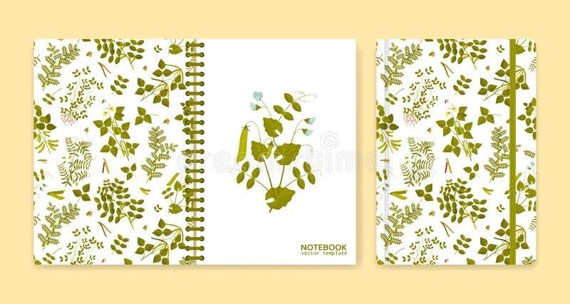 Cubra o projeto para cadernos ou álbuns de recortes com as plantas da leguminosa ilustração royalty free
