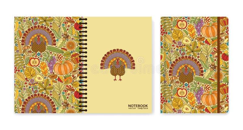Cubra o projeto para cadernos ou álbuns de recortes com o teste padrão e o peru do outono ilustração royalty free