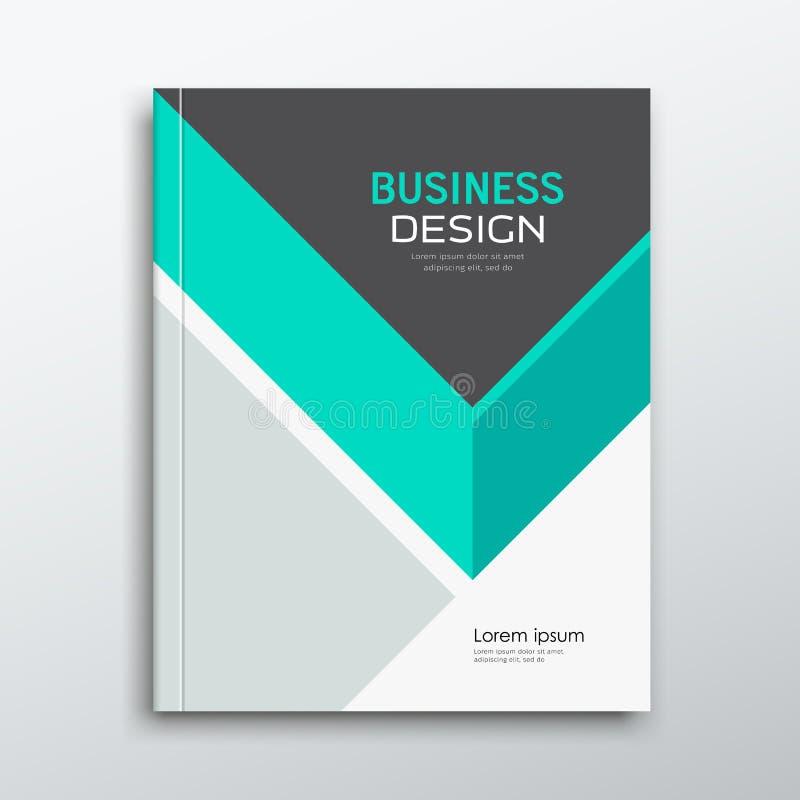 Cubra o projeto verde e cinzento do informe anual do livro do negócio do triângulo ilustração royalty free