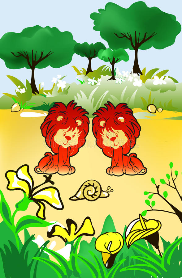 Cubs. Lion cubs in cartoon style illustration stock illustration
