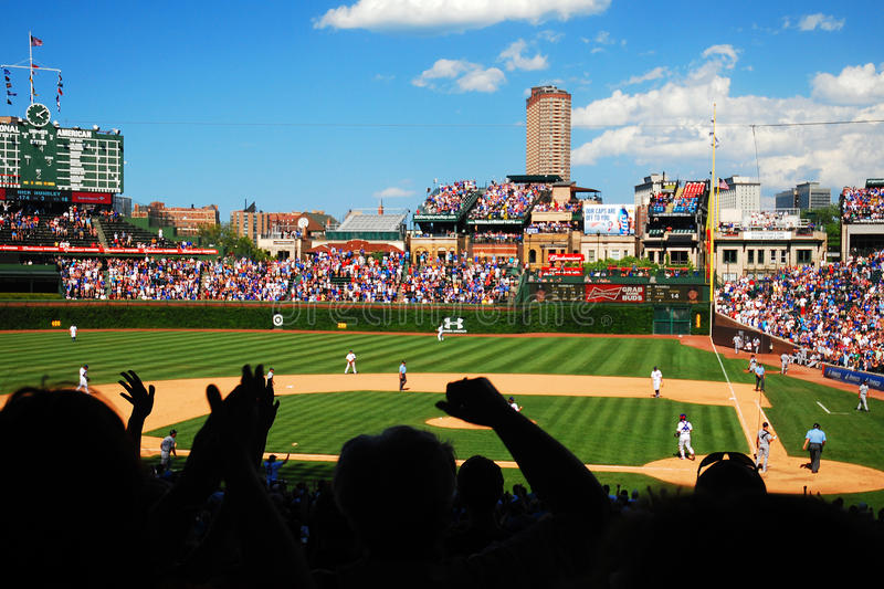 Cubs Win. Fans celebrate a Cubs victory in Chicago's Wrigley Field royalty free stock images
