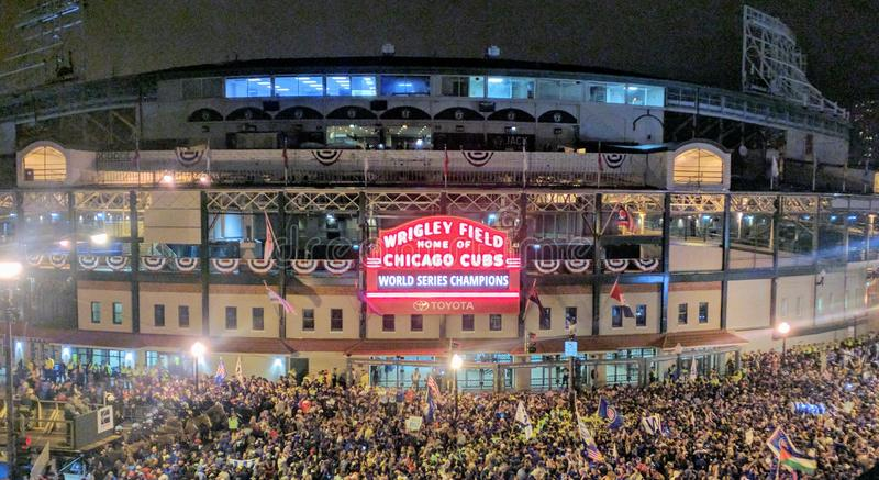 Cubs win World Series. Outside Wrigley Field just after the Cubs won the World Series. The crowds are gathered for the last few innings of game 7 and the winning royalty free stock photo