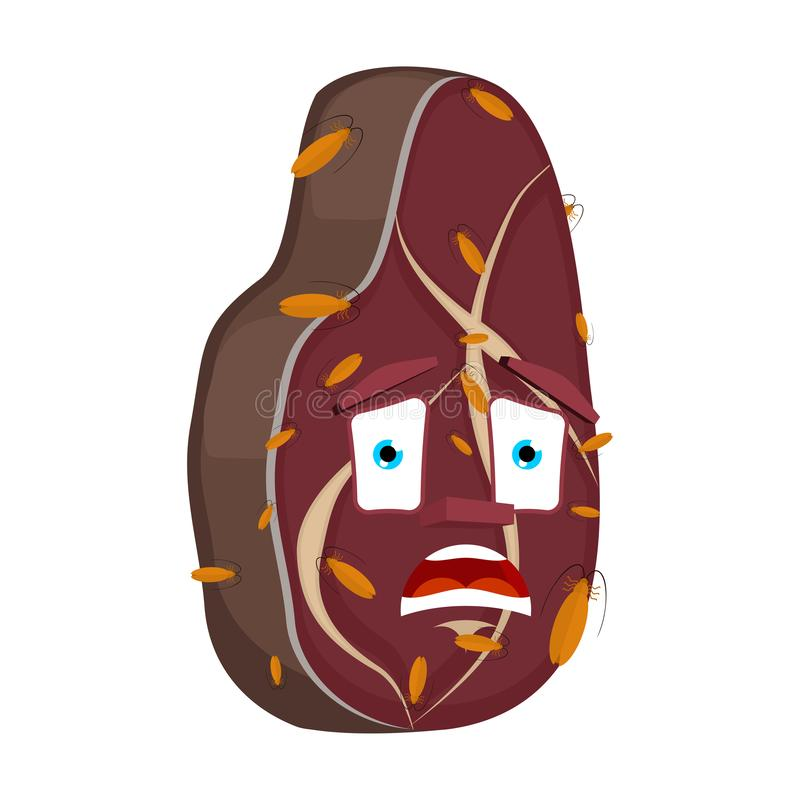 Cucarachas en el filete aislado Infectado por estilo de la historieta de la carne de los insectos el filete se aterró vector libre illustration