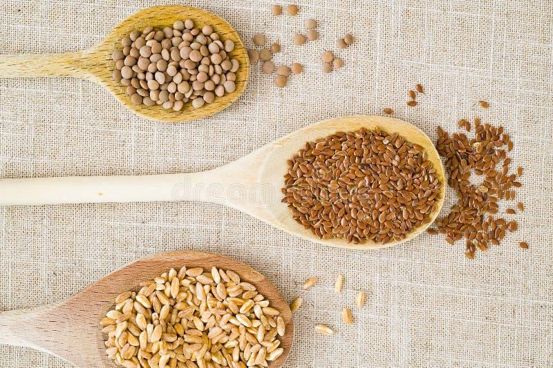 Cucchiai, granulo e legumi immagine stock