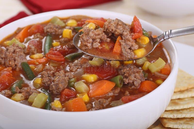 Cucchiaiata della minestra di verdura immagine stock libera da diritti