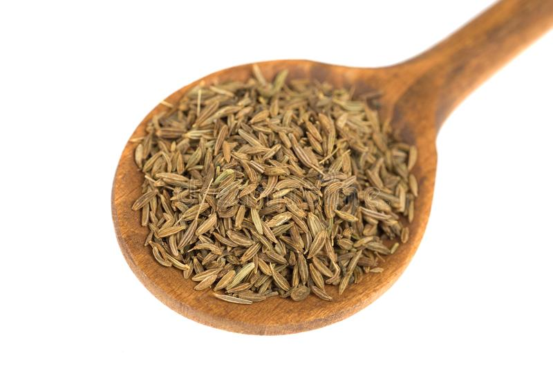 Cucchiaio dei semi del Cuminum immagini stock libere da diritti