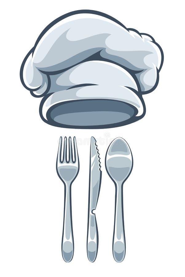 Cucchiaio del coltello della forcella degli utensili della cucina e cappuccio dei cuochi illustrazione vettoriale