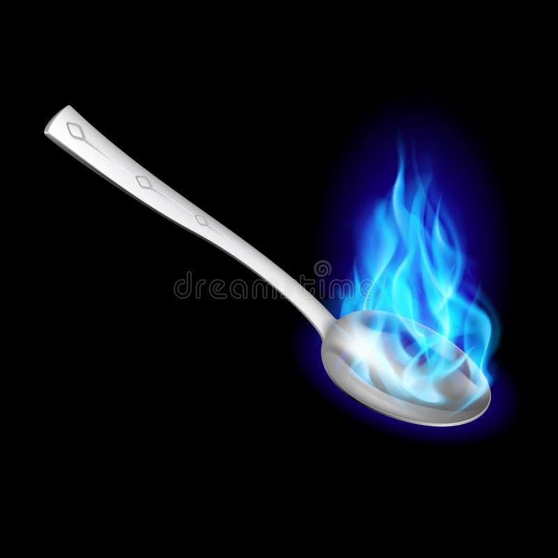 Cucchiaio del metallo con fuoco blu. royalty illustrazione gratis