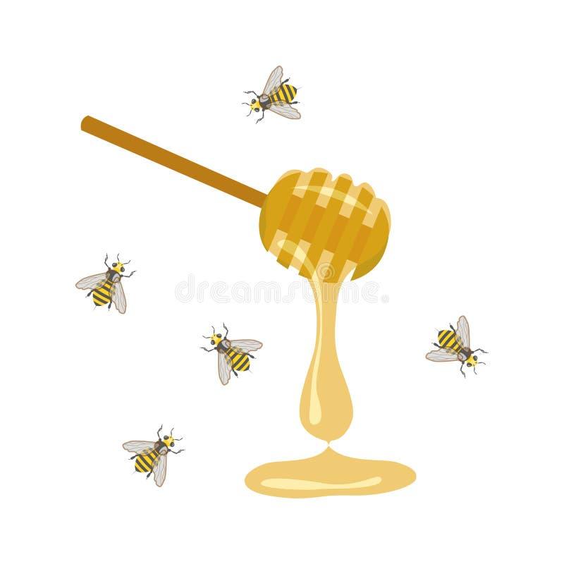 Cucchiaio del miele e dell'ape royalty illustrazione gratis