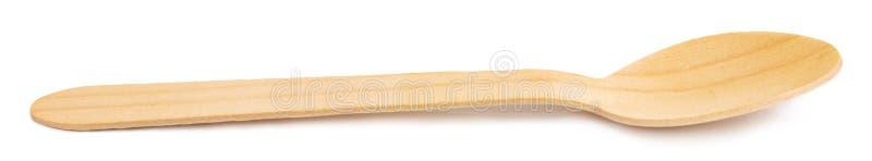 Cucchiaio di legno isolato su priorit? bassa bianca Picchietti del ritaglio fotografia stock