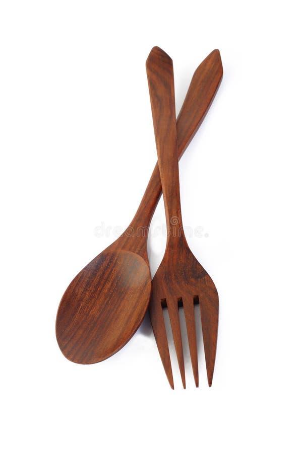 Cucchiaio e forchetta di legno fotografie stock libere da diritti