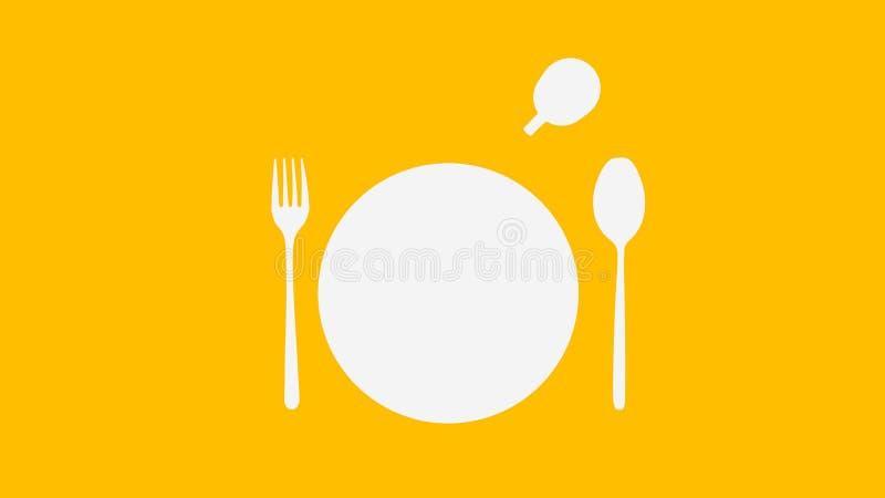 Cucchiaio e forchetta e piatto e tazza bianchi su colore giallo illustrazione vettoriale