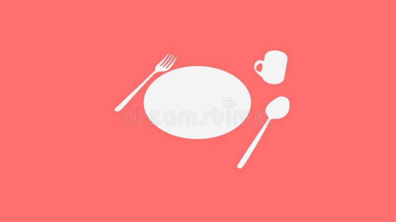 Cucchiaio e forchetta e piatto e tazza su rosso illustrazione vettoriale