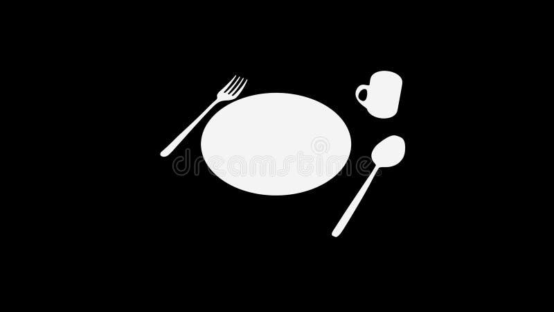 Cucchiaio e forchetta e piatto e tazza sul nero royalty illustrazione gratis