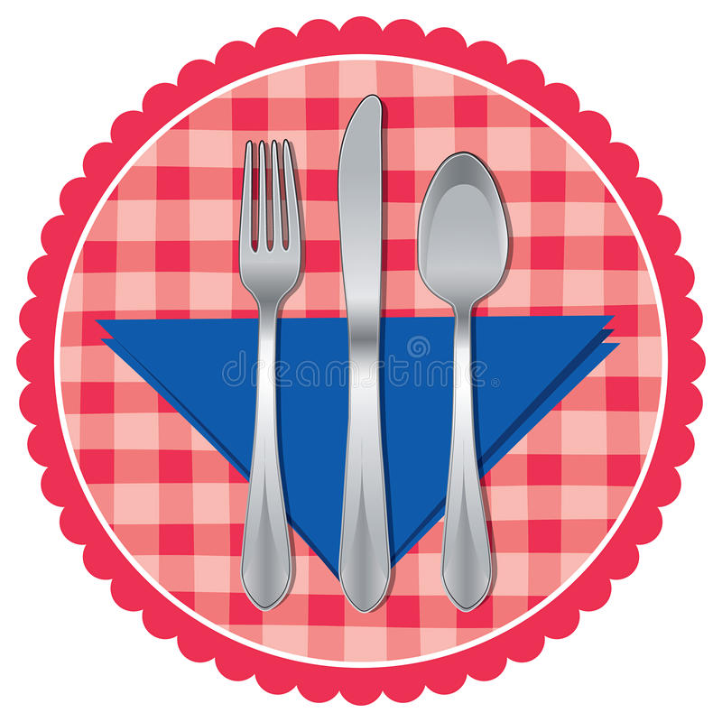 Cucchiaio, forchetta e lama sul panno di tabella illustrazione di stock