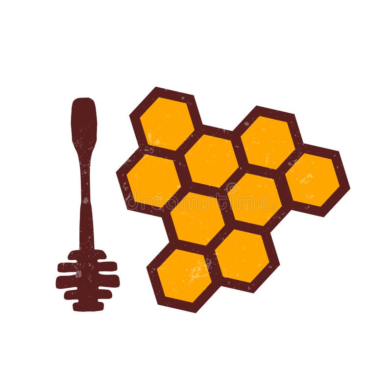 Cucchiaio per miele, favi colore illustrazione di stock