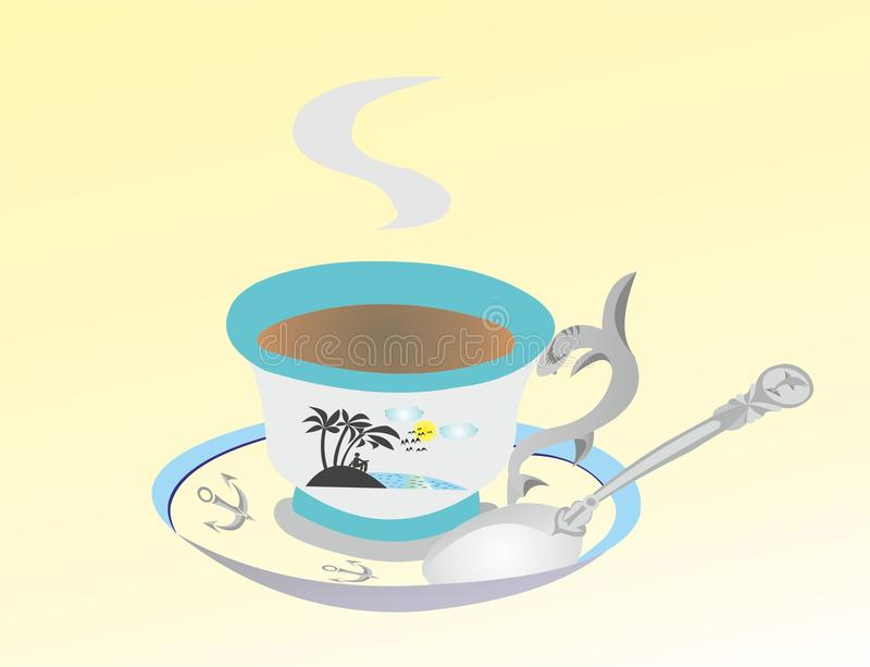 Cucchiaio in una tazza con una bevanda calda royalty illustrazione gratis