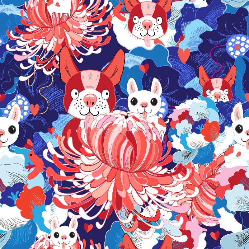 Cuccioli floreali luminosi senza cuciture di amore del modello illustrazione di stock
