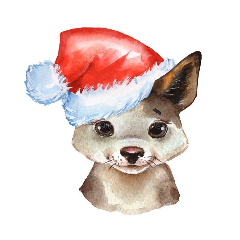 Cucciolo dell'acquerello in cappello di Santa illustrazione di stock