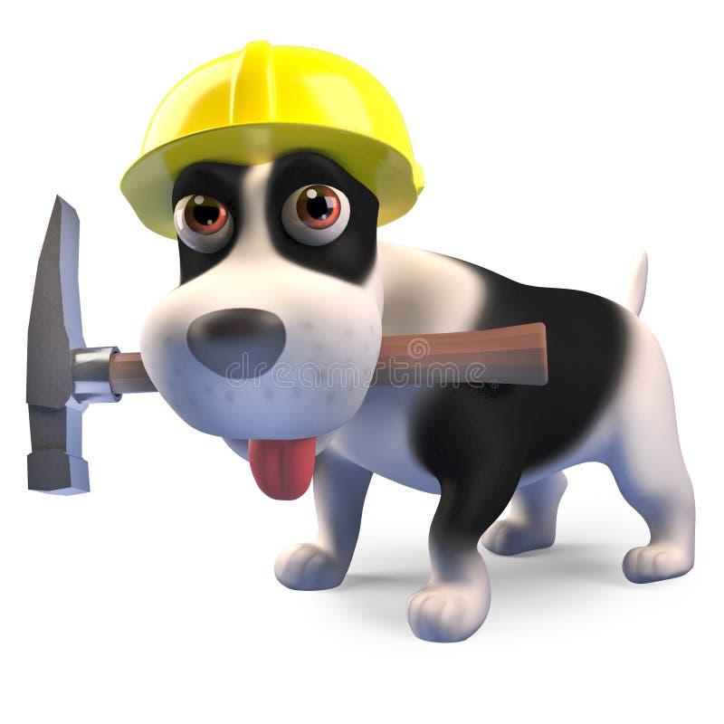 Cucciolo di cane del muratore con il martello ed il casco di sicurezza d'uso, illustrazione 3d royalty illustrazione gratis
