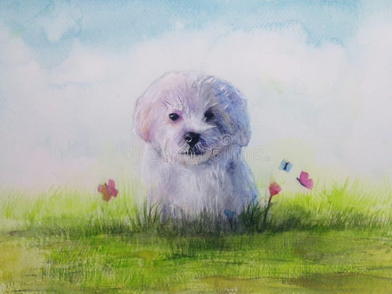cucciolo di cane dell'illustrazione in prato con il fiore e la farfalla royalty illustrazione gratis