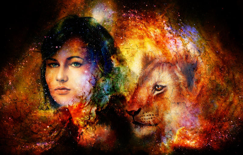 Cucciolo di leone e della giovane donna nello spazio cosmico Effetto del crepitare illustrazione di stock