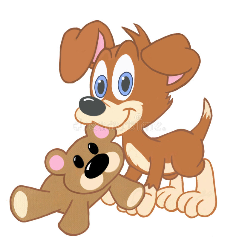 Cucciolo ed amico illustrazione di stock