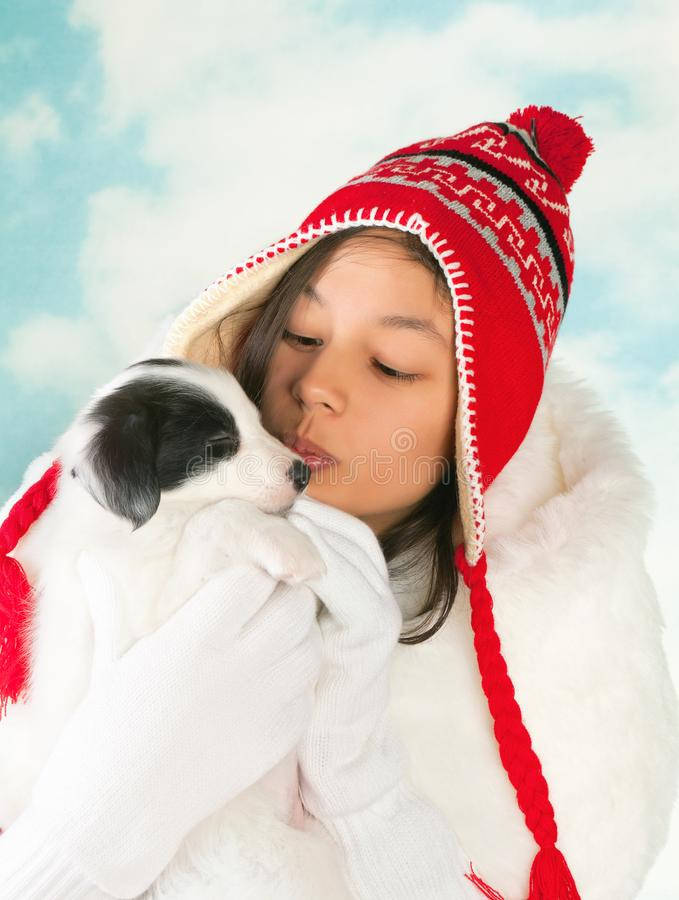 Cucciolo nell'inverno fotografia stock libera da diritti