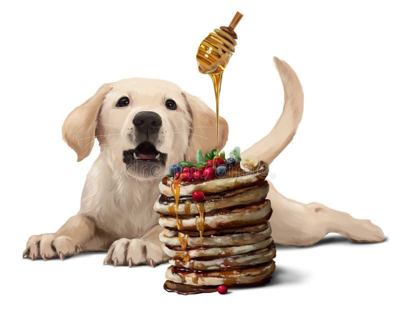 Cucciolo, pancake e miele di Labrador Illustrazione dell'acquerello illustrazione di stock