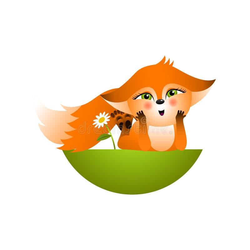 Cucciolo rosso isolato della volpe del fumetto su fondo bianco Frendly bugia felice arancio della volpe sulla radura e sul sogno  royalty illustrazione gratis