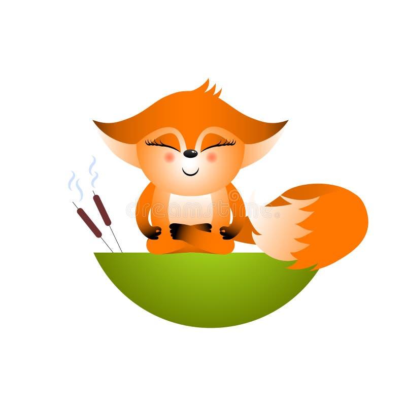 Cucciolo rosso isolato della volpe del fumetto su fondo bianco Sedendosi nella volpe frendly arancio di posa del loto Il personag royalty illustrazione gratis