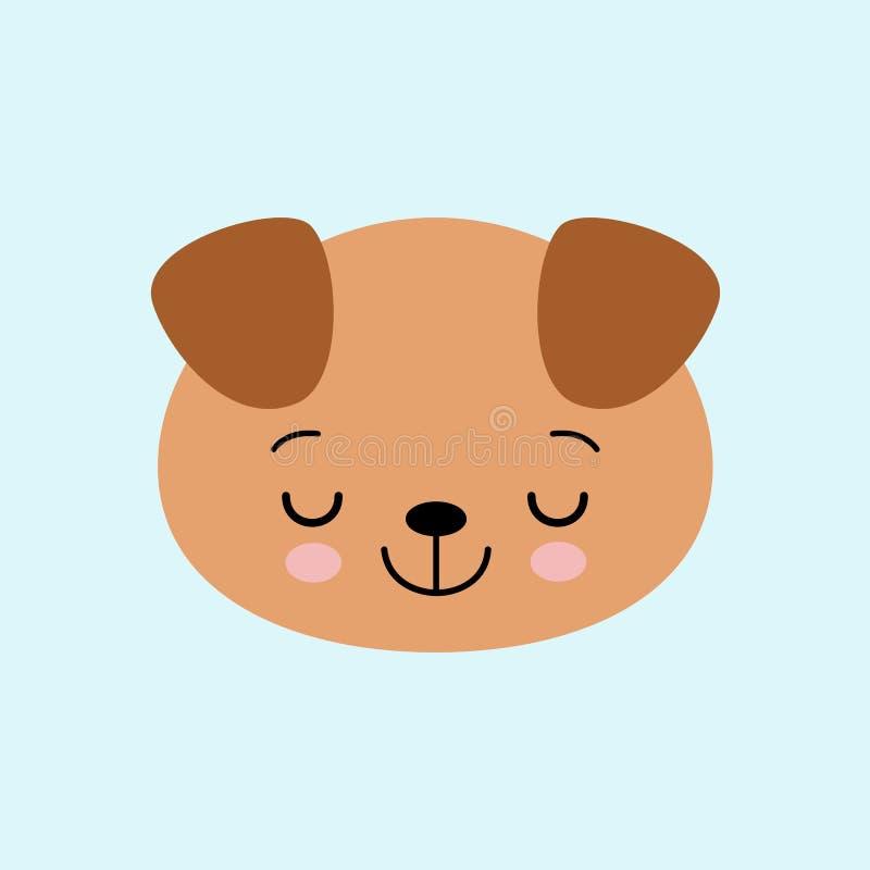 Cucciolo sveglio di sonno del fumetto, disegnante per i bambini Illustrazione di vettore Stile piano illustrazione di stock