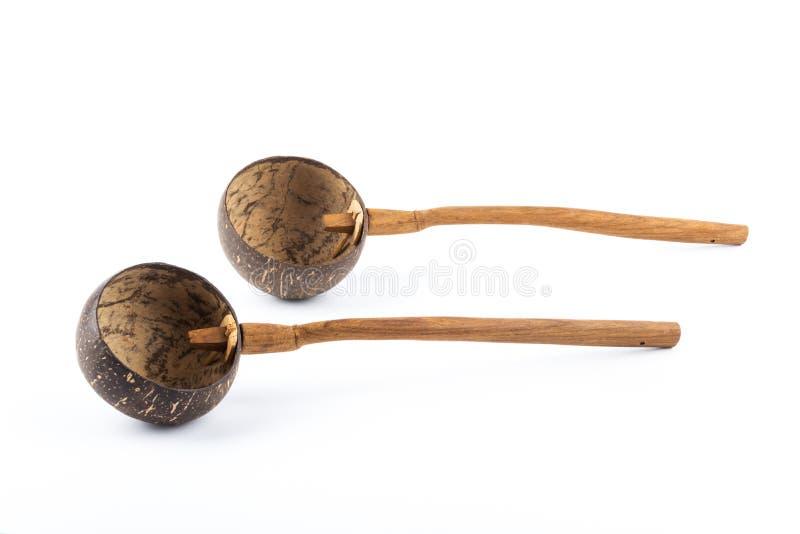 cucharón de la cáscara de 2 cocos imagen de archivo