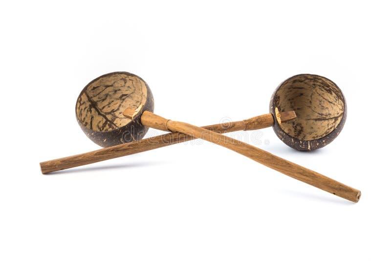 cucharón de la cáscara de 2 cocos fotografía de archivo libre de regalías