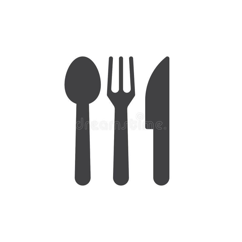 Cuchara, bifurcación, cuchillo Vector del icono de los cubiertos, stock de ilustración
