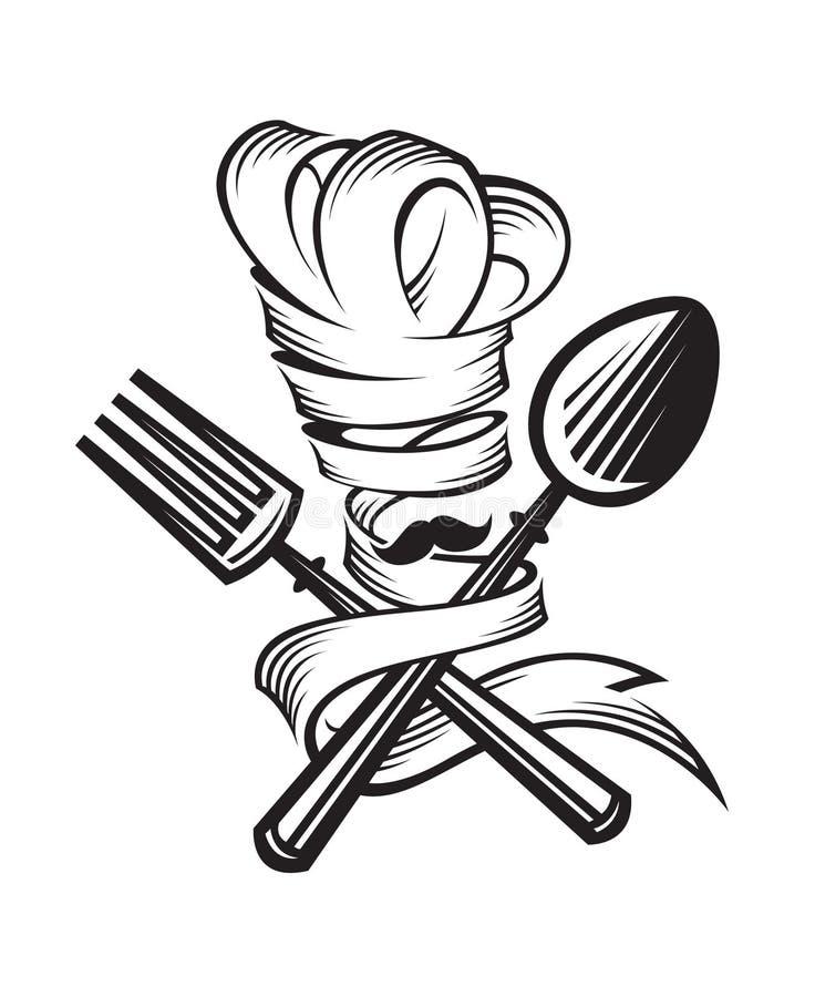Cuchara, bifurcación y cocinero stock de ilustración