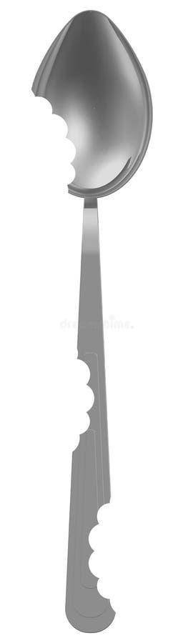 Cuchara con marcas de mordedura ilustración del vector