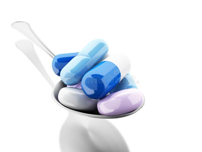 cuchara 3d por completo de píldoras y de la cápsula coloridas libre illustration