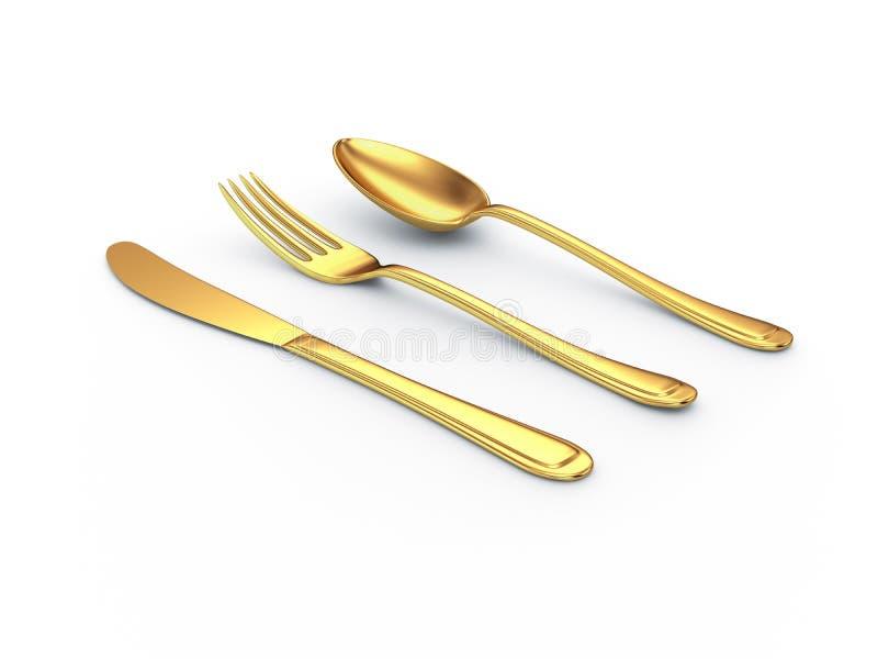 Cuchara de la fork del cuchillo del oro con la sombra stock de ilustración